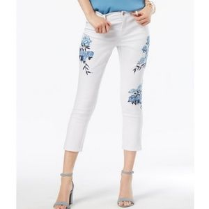 INC Floral Embroidered Cropped Jeans